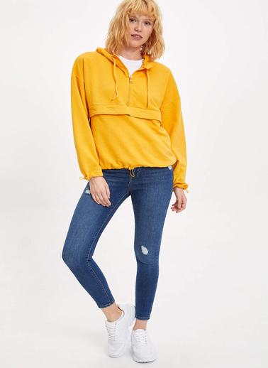 DeFacto Kapüşonlu Bağcık Detaylı Sweatshirt Sarı